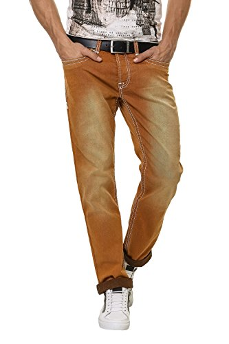 Hachiro Herren Straight Leg Jeans Denim Used Look Brown