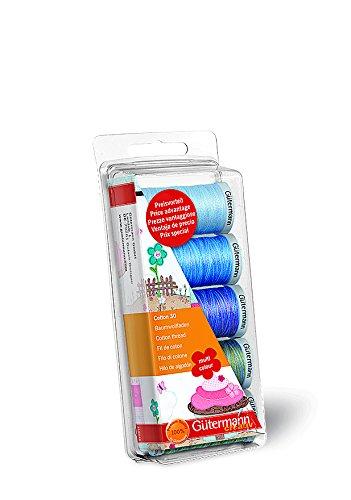 Knorr Prandell Gutermann Maschinenstickgarn, Stärke 30, 100% Baumwolle, Blau/Grün Blau/Grün (Cotton 100% Thread Quilting)
