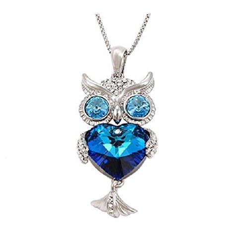 Le Premium® collana del maglione gufo Realizzato con cristalli a forma di cuore Da Swarovski- (Realizzato Gufo)