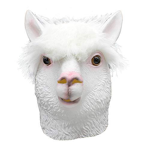 (QETU Halloween Kostüm Alpaka Latex Tierkopf Maske, Neuheit Party Lustige Latex Maske)