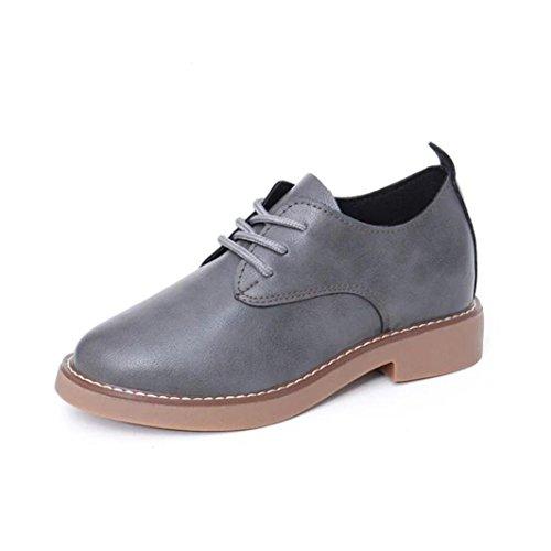 Hunpta Fr眉hling Frauen Mode flachem Absatz Schuhe Casual Frauen Schuhe Spitze Schuhe Gray