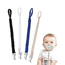 Schnullerkette Baumwolle Schnullerband Baby Schnullerketten für Neugeboren Mädchen und Jungs Lätzchen Dreieckstuch Sauger Schnuller 4 Stücke #2