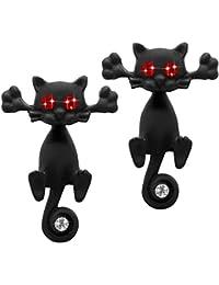 Soul-cats® 1 paio di orecchini orecchini gatto nero gattino Strass