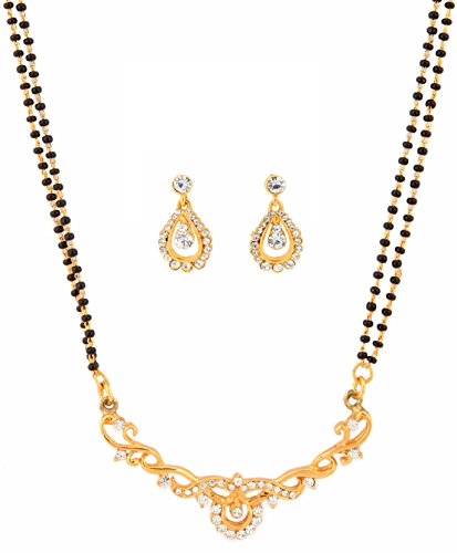 Indian bollywood ethnic white rhinestones pretty mangalsutra necklace set jewelry for women (Indisch Inspiriert Modeschmuck)