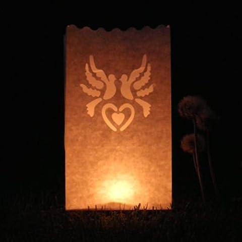2sacs–Bougie lanterne luminaire Royaume-Uni pour mariage, fête, Noël Home Office Decor Décoration (Lot de 10) Dove & Heart