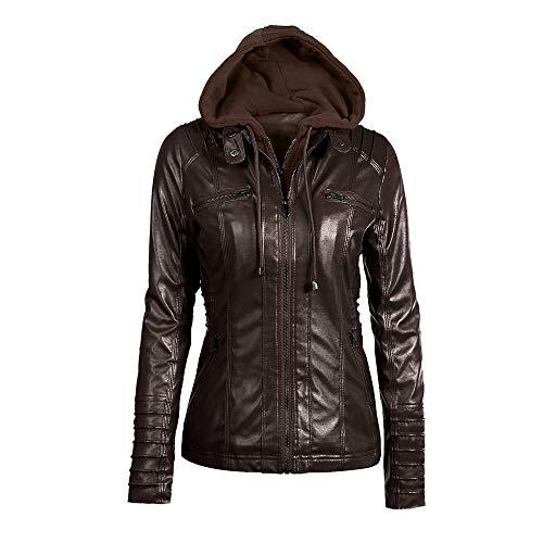 x8jdieu3 Langärmlige Damenjacke mit Reißverschluss, Kurze Jacke, weibliche Herbstjacke, Motorradjacke, einfarbige Lederjacke