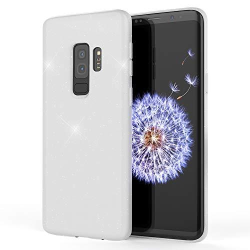 NALIA Glitzer Hülle kompatibel mit Samsung Galaxy S9 Plus, Schimmernde Ultra-Slim Silikon Handyhülle Cover Glitter Schutzhülle Dünnes Case Etui Handy-Tasche Bumper Phone Skin Backcover, Farbe:Weiß Phone Cover Glitter
