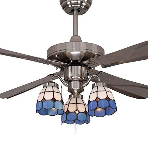 42pulgadas ventilador de techo luz Tiffany estilo vitral Ombre Ventilador de techo luz Retro mando...