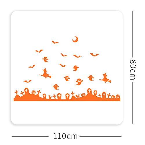 Wegji Halloween Dekoration Juweliergeschäft Fenster Schiebetür Wandaufkleber Thema Szene Layout Dekorative Aufkleber Big Orange