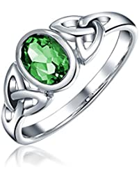 Bling Jewelry Sterling Silber simulierten Emerald Glas keltisches Triquetra Ring