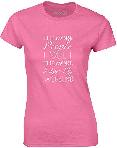 Brand88 - I Love My Dachshund, Gedruckt Frauen T-Shirt Azalee/Weiß