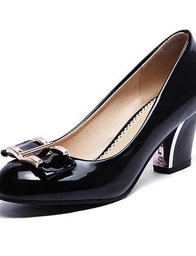 WSS 2016 Chaussures Femme-Mariage / Habillé / Décontracté-Noir / Rouge / Amande-Gros Talon-Talons-Talons-Similicuir black-us4-4.5 / eu34 / uk2-2.5 / cn33