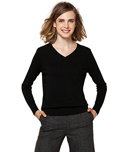 Black Cashmere Turtleneck Pullover (Zhili Frauen V-Ausschnitt Kaschmir Pullover Pullover L Schwarz)