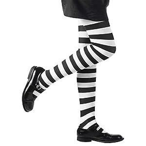 Pantyhose Striped - White/Black - 11-14yrs
