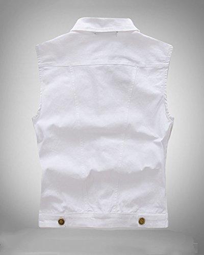Herren Weste Retro Vintage Denim Jeans Weste Ärmellose Jeansjacke Jeansweste Weiß