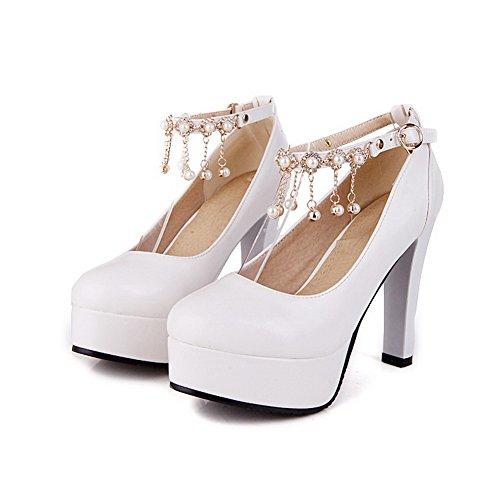AgooLar Femme Boucle Rond à Talon Haut Pu Cuir Mosaïque Chaussures Légeres Blanc