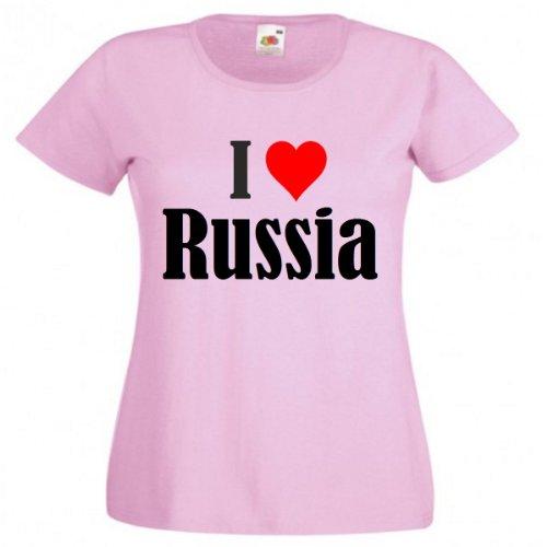 """T-Shirt """"I Love Russia"""" für Damen Herren und Kinder in Pink Pink"""