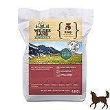 Wildes Land | Trockenfutter für Hunde | Nr. 5 Rind | 4 kg | mit Kartoffeln und Wildkräutern | Glutenfrei & Hypoallergen | Extra viel Fleisch | Alle Hunderassen Akzeptanz und Verträglichkeit