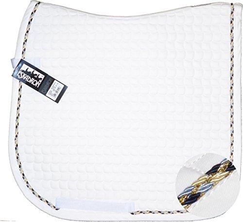 ESKADRON Cotton Schabracke weiß, einer Multikordel in navy/lightblue/creme, Form:Dressur