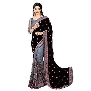 Nivah Fashion Women's Plain weave Satin Saree With Blouse Piece