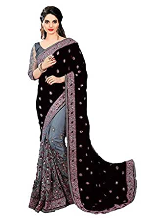 PanashTrends Women's Heavy Embroidered Work Satin Silk and Net Saree (Black, Free Size)