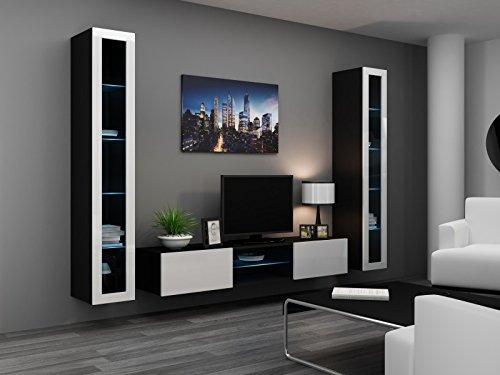 Wohnwand ' Vigo Glass IV ' Glasvitrine Hängend Hochglanz Matt , Farbe:schwarz matt / weiß Hochglanz