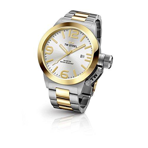 TW Steel CB32Cantina de la para hombre acero inoxidable pulsera de plata banda Dial de plata reloj