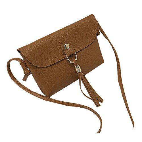 Damen taschen FORH Fashion Tasche Vintage Handtasche kleine Mini Quaste Umhängetaschen Geldbörsen Kuriertasche Handgelenkstaschen PU Leder Shopper Bag (Braun)