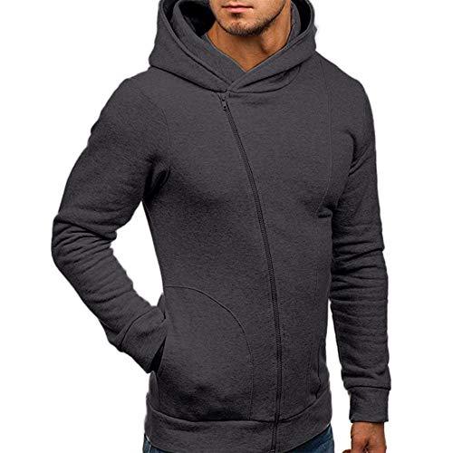 (WWricotta Men's Long Sleeve Autumn Winter Casual Sweatshirt Hoodies Coat Tracksuits Jacket(Dunkelgrau,XXL))