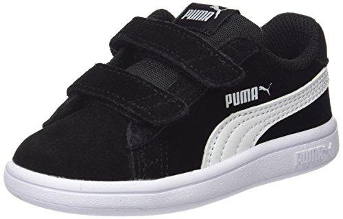 Puma Smash v2 SD V Inf, Scarpe da Ginnastica Basse Unisex-Bambini, Nero Black White, 24 EU