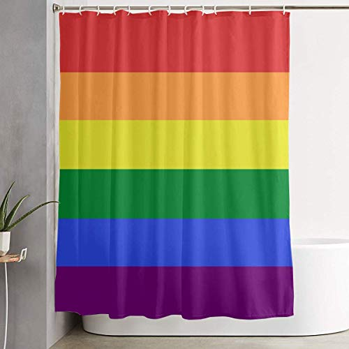 Duschvorhang,Waterproof Shower Curtains 60x70 inches LGBT Pride Rainbow Flag Bathroom Shower Curtains Quickdry Fabric Bath Decor Set with Hooks