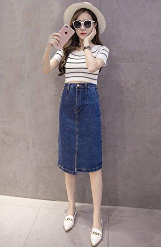 NiSeng Femmes Jupe En Jean Fourreau Mi-Longue À Poches Plaquées Taille Haute Jupe De Crayone Bleu