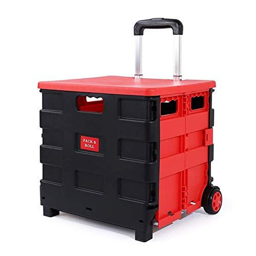 QYHT 50L Einkaufstrolley Einkaufsroller klappbar, Faltbare Kunststoffkiste, Teleskoplenkräder, Rollwagen, Hochleistungs-Leichtgewichtler mit Einer Tragfähigkeit von 80 kg
