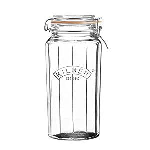 Kilner - Vorratsdose, Vorratsglas - facettiertes Glas - 1,8 Liter - Glas mit Flip Top Deckel