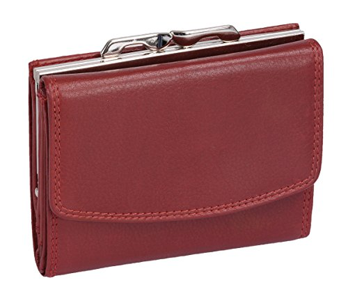 Damenknipsbörse LEMONDO in Echt-Leder, cherry, 10x12cm -