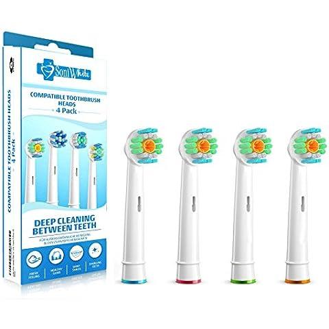 SoniWhite® 8 Pack Compatible 3D suave cabezas del cepillo compatible con asas cepillos de dientes eléctricos de Oral-B. . Totalmente compatible con Oral-B Floss Actoion, 3D, Trizone, Flexisoft, Precion Clean &