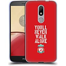 Official Liverpool Football Club Stencil Red Crest You'll Never Walk Alone Soft Gel Case for Motorola Moto M
