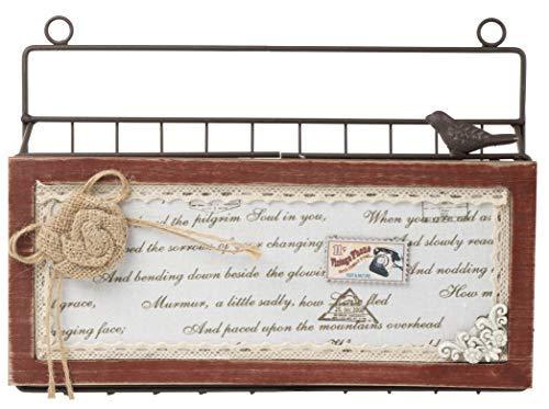 , zum Aufhängen Datei Veranstalter-Bill, Mail, Postfach Organizer, Briefständer, braun Metall Draht mit Holz Dekoration, 31,1x 22,9x 7cm -