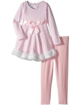 Bonnie Jean Baby Mädchen Weihnachtsset Weihnachtskleid - Zuckerstangen-Tunika mit Plüsch und Pailetten inkl. Legging...