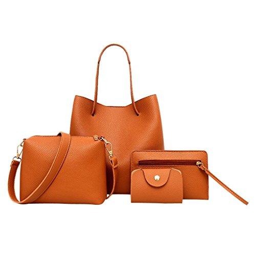 VJGOAL Damen Schultertasche, 4Pcs Frauen Muster Leder Handtasche + Umhängetasche + Messenger Bag + Card Paket Frau Geschenk (4PCS, Braun)