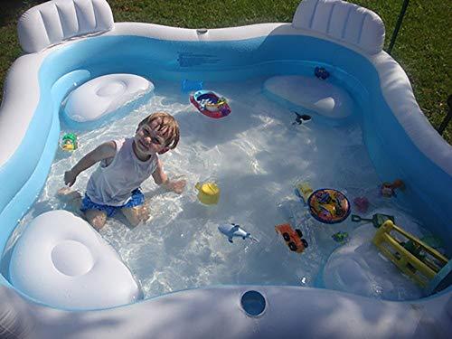 TongNS2 Centro Juegos Hinchable Piscina niños Inflable Plegable Cuadrada con Asientos...