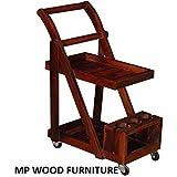 MP Wood Furniture Solid Sheesham Wood Altavista Trolley Bar Cabinet (Honey Oak Finish)