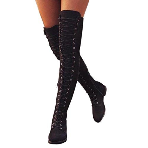 QinMM Frauen Cross-Gebundenen Plateauschuhe Flache Ferse Hohe Stiefel üBer Das Knie (36, Schwarz)