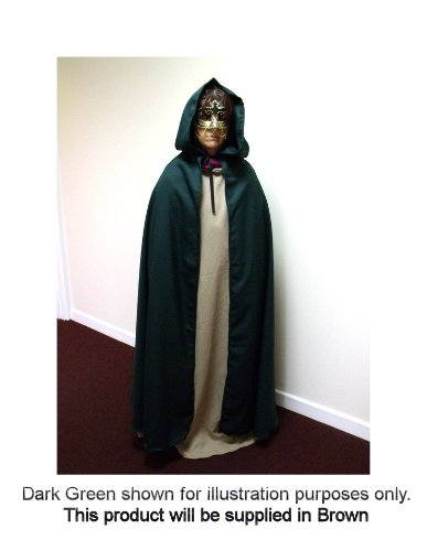 Brown Polyester Twill Adult Cloak - Legoslas/Frodo/Lord Of The Rings/LOTR/Pirate/Arwen/Pagan/Halloween by Merlins Medieval Closet