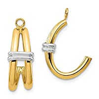 14ct Two Tone Gold Polished Double J Hoop Earrings Jackets Jewelry Gifts for Women