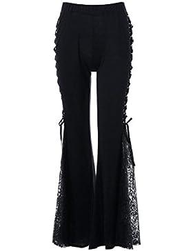 Mujer Golpear Los Pantalones Elegante Verano Elastische Taille Splice Encaje Pantalones Acampanados Slim Fit Lindo...