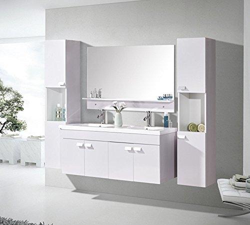 Mobile bagno arredo bagno completo 120 cm lavabo 2 rubinetti mod. white elegance nuovo imballato!