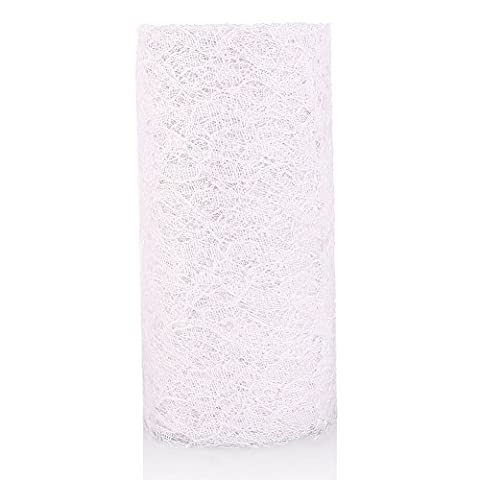 RUNGAO 15cmx9m Lace Roll Table Runner Chair Sash Wedding Bouquet Venue Decoration White