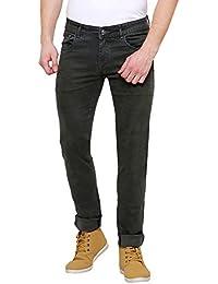 Westos Men's Slim Fit Military Green Jeans