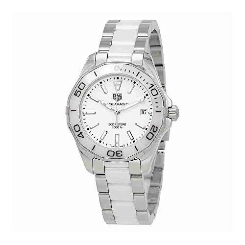 Tag Heuer Aquaracer da donna 35mm Bicolore in ceramica & acciaio cassa quarzo quadrante bianco orologio WAY131B.BA0914